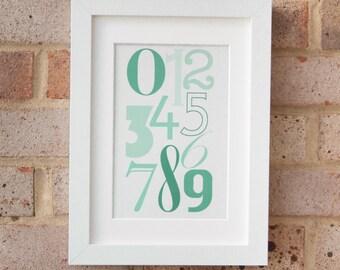 Numerals, Green - Gicleé print