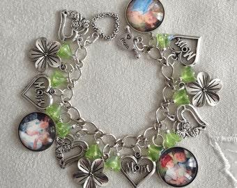 Mother's Day A Mother's Love Mary Cassatt Charm Bracelet with Czech Glass Flower Beads