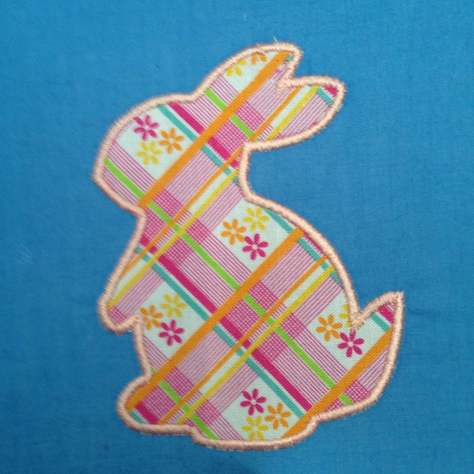Easter bunny appliqué embroidery design by