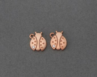 Ladybug Brass Pendant . Wedding Jewelry, Bridal Jewelry . Rose Gold Plated over Brass  / 4 Pcs - GC081-RG-CR