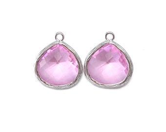 Pink Glass Pendant . Jewelry Craft Supplies . Polished Original Rhodium Plated over Brass / 2 Pcs - AG002-PR-PK