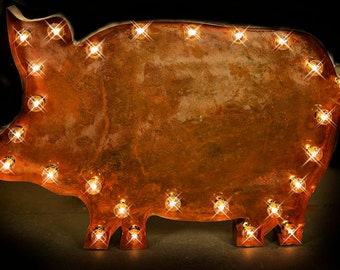 marquee pig sign marquee light marquee letter fixture marquee lighted metal pig - Lighted Marquee Letters