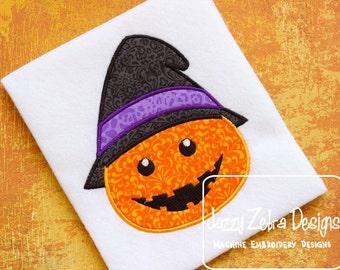 Jack o Lantern Witch Applique Design