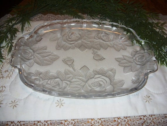 mikasa crystal studio nova winter rose large platter