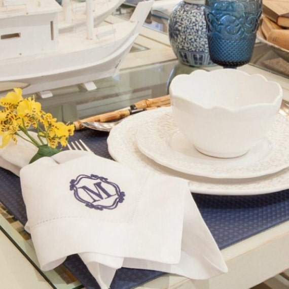Monogrammed Dinner Napkins Monogrammed Table Linens Personalized Bridesmaid Gift
