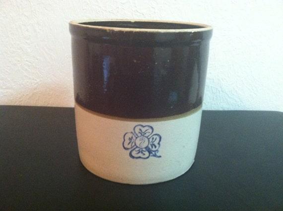 Alabama Miller Pottery Brown Amp Cream Crock With Cobalt Blue 4