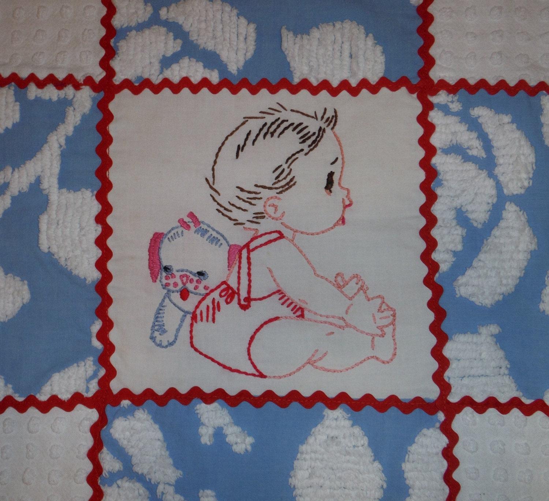 Patchwork vintage chenille baby quilt