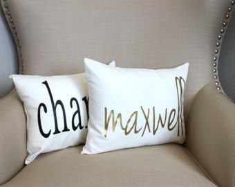 Name Pillow, Baby Nursery Pillow Cover, Wedding Pillow, Foil,  Ivory, Black, Gray Pillow, Gold Monogram Pillow Cover