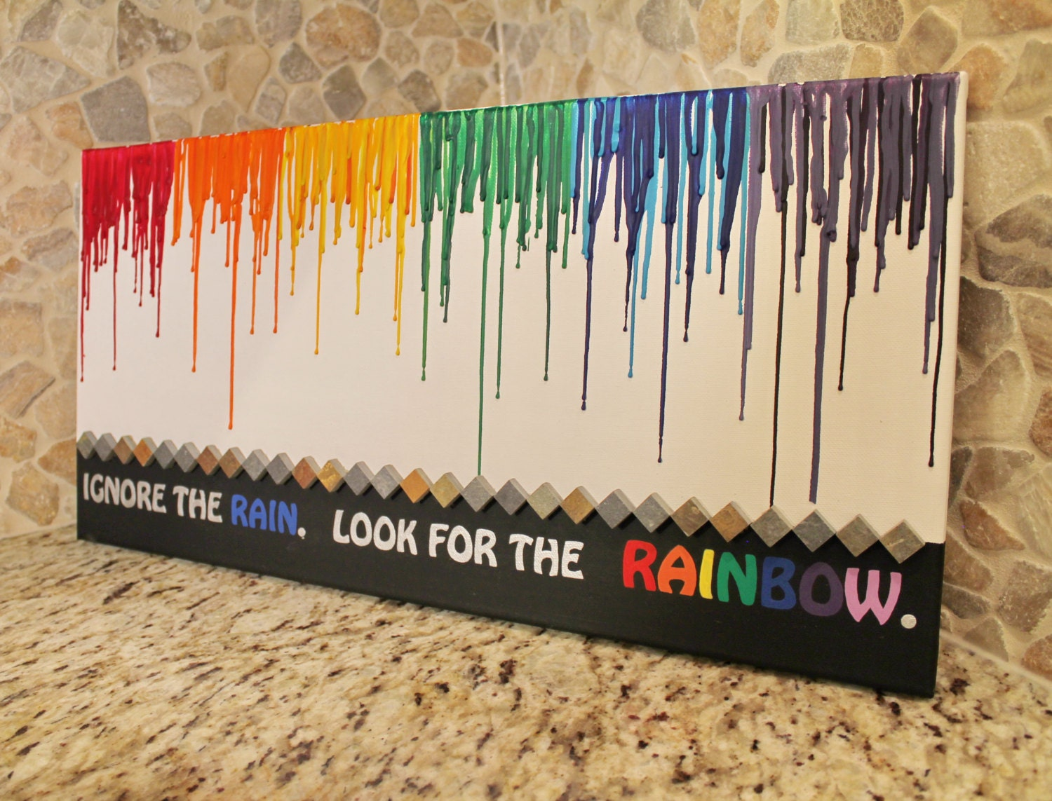 Melted crayon art with rainbow and quote by crayonjunkie for Melted crayon art with quotes