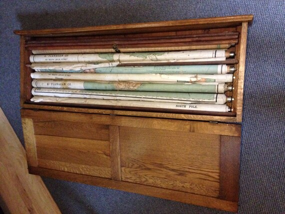 Reserved For Renee Antique Pull Down Maps In Oak Case Rare