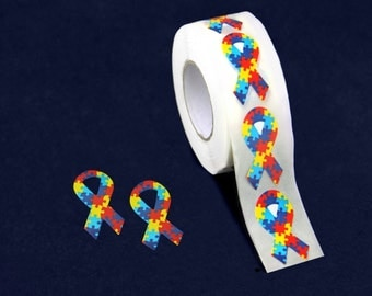 Small Autism Awareness Ribbon Stickers - 500 Stickers (ST-02S-2)