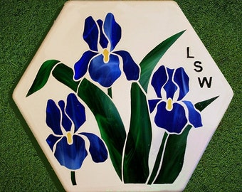 Stained glass iris stepping stone