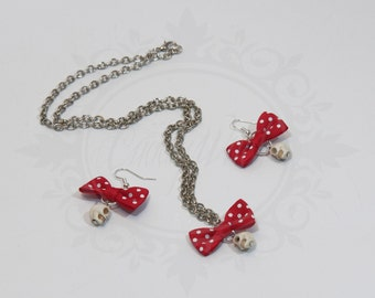 SALES; DISCOUNT! aulite skull earrings white, red polka dot bow - rock'n'roll rockabilly pin up rocker gothic lolita