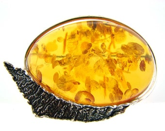 W Kruk 1840 Sterling Silver and Polish Amber Brooch.