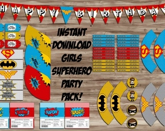 Superhero Girls Birthday Party Pack, Pop Art Birthday Banner, Cupcake Wrapper, Water Bottle, Thank You Tags - Digital JPGs, INSTANT DOWNLOAD