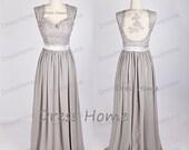 Grey Lace Prom Dress/Long A Line Prom Dress/Open Back Chiffon Prom Dress/Bridesmaid Dress/Homecoming Dress/Party Dress/Prom Dress DH131