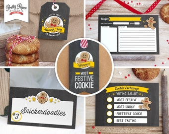 Holiday Cookie Exchange Party Pack // INSTANT DOWNLOAD // Christmas Cookie Swap // Printable Kit CE01