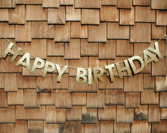 Gold or Silver Glitter Happy Birthday Banner