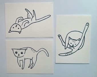 cats are funny - set of 3 hand screen printed postcards
