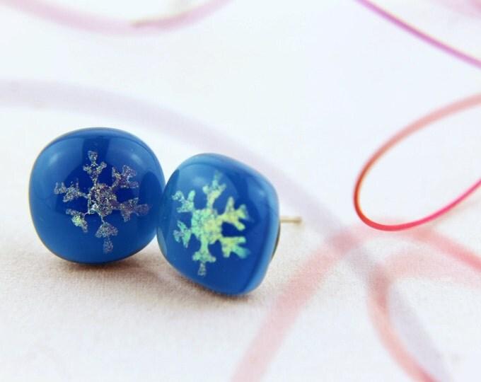Dichroic/ snowflake in steel blue/ stud fused glass/  earrings/ 12mm/