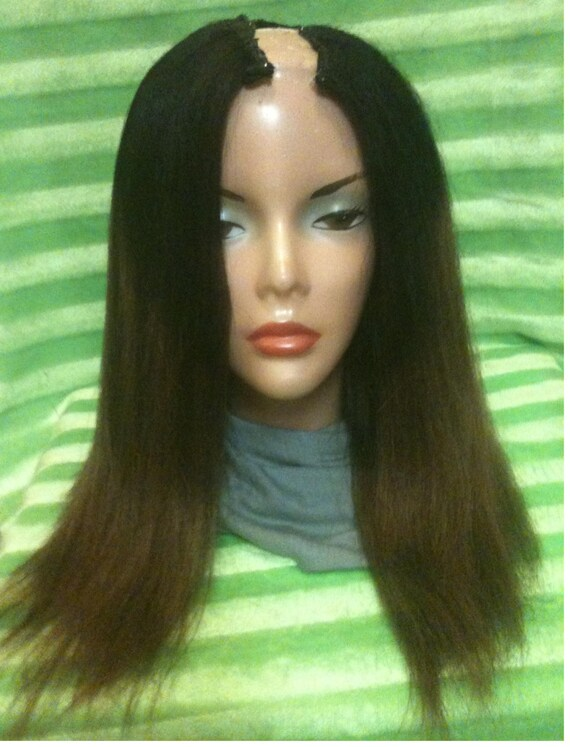 """21"""" 100% Human Hair Kinky Straight U-Part Wig Black/Copper Ombre"""