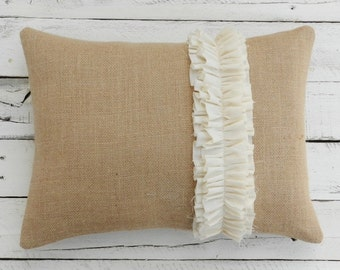 "Rustic Burlap and Ruffle Pillow Cover - 12"" x 16"""