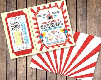 Carnival Birthday Invitation (Custom Digital File)