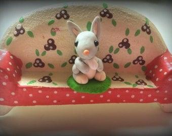 Easter Bunny - Grey rabbit - miniature - polymer clay