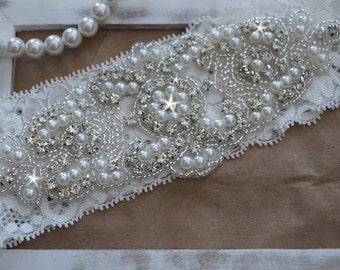 Wedding Garter, Bridal Garter, Vintage Wedding, Lace Garter, Crystal Garter, Pearl Garter -Style 200