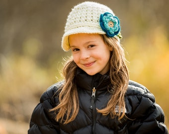 Girls newsboy, spring flower hat, girls gift, girls accessory, crocheted beanie, photo prop