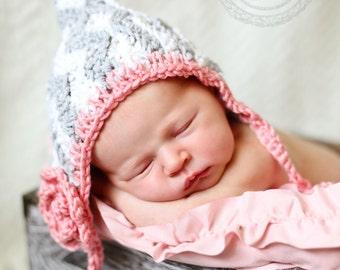 Crocheted chevron bonnet, baby bonnet, baby photo prop, baby gift, crocheted baby girl hat, baby accessory,