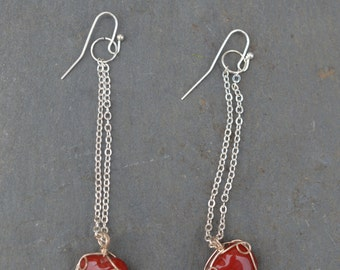 Glass Heart Wire Wrapped Bead Earrings