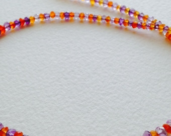 Amethyst And Carnelian Rondelle Strand