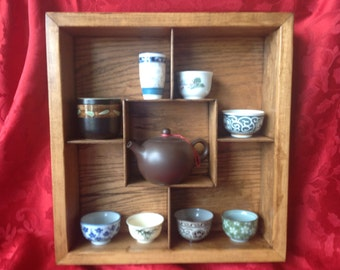 Shadow Box, Display Case, Knick Knack shelf -  stained in antique cherry - Free Shipping USA