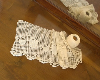 Crochet curtain with cups and teapots pattern, italian crochet valance