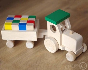 Wooden Tractor with Trailer, Wooden Blocks, Wooden Toy, Tractor with Blocks Z412