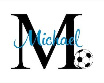 Soccer Wall Decal - Personalized Sports Decal With Initial And Name N22 for Baby Boy Nursery Boys Room Girls Room - Vinyl Wall Art