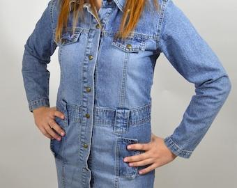 90s denim button through dress