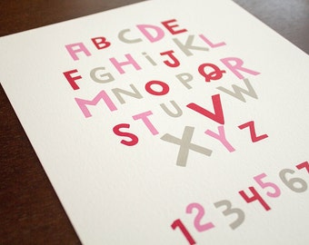 Alphabet and Numbers 8 x 10 Letterpress Print - Pink