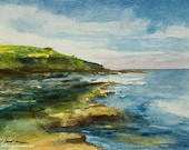 Watercolor beach painting, original watercolor,LOW TIDE England, seascape, beach art, colorful