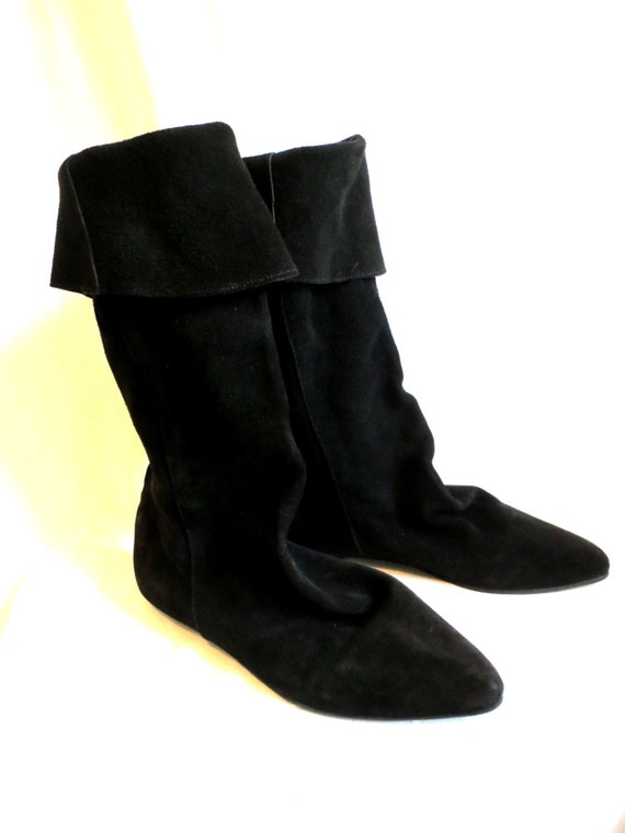 suede boots black leather slouchy pirate boots cuffed