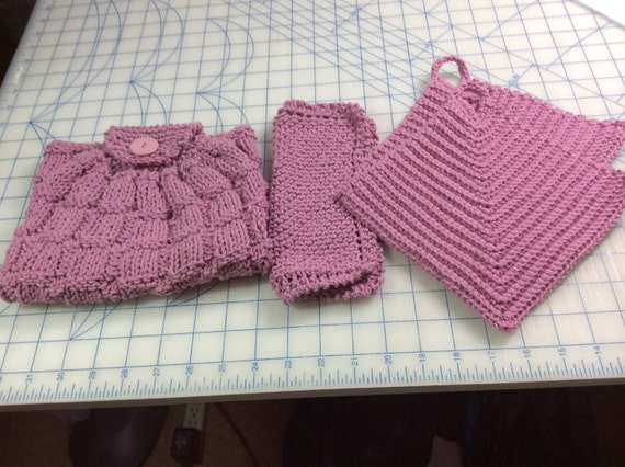 Knitting Patterns Holders For Towels : Items similar to Hand knitted kitchen towel and dish cloth set and crocheted ...