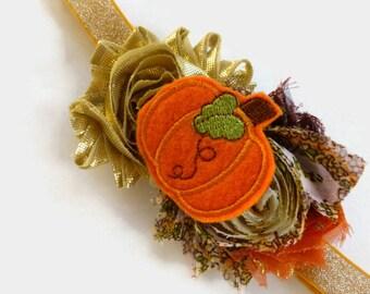 Orange Pumpkin Headband - Harvest Pumpkin Headband - First Thanksgiving Baby Headband - Gold Flower Headband - Glitter Gold Headband