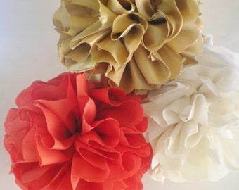 Coral cream gold fabric pom poms for home decor, weddings, nurseries, deep coral, mandarin orange, ivory
