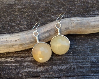 Wire wrapped faceted yellow jade earrings free shipping