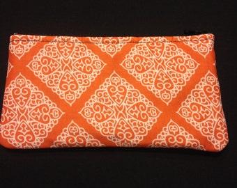 White Diamond Filigree on Orange Pencil Case / Zipper Pouch #121