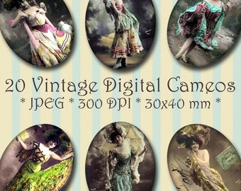 INSTANT DOWNLOAD Vintage Cabaret Girls Cameos 30x40 & 18x25 mm ovals Digital Collage Sheet - for Jewelry, Crafts