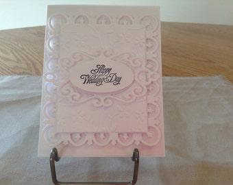 Beautiful White on White Wedding Card