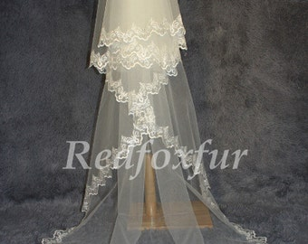 Lace Cathedral Veil, Drop Veil, Cathedral Veil, Alencon Lace Veil, Wedding Veil, Bridal Veil, Mantilla Veil,  Lace Veil