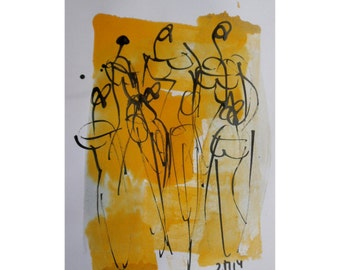 pastel dance  - Original Drawing with colored Ink and Bambu-Stick - free shiping